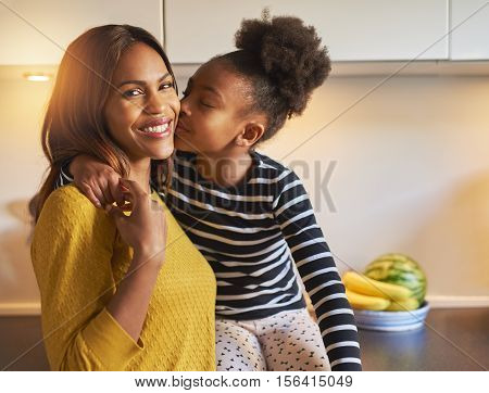Black Mom And Daughter Loving Each Other