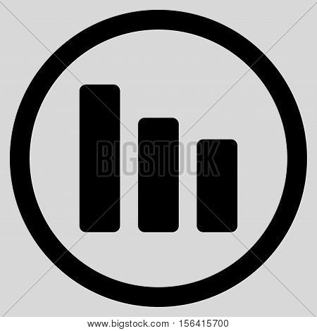 Bar Chart Decrease vector rounded icon. Image style is a flat icon symbol inside a circle, black color, light gray background.
