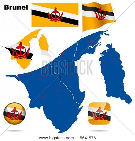 Brunei vector set. Detailed country shape, region borders, flags and icons isolated on white background.