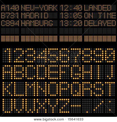 Airport timetable board template – alphabet and figures.