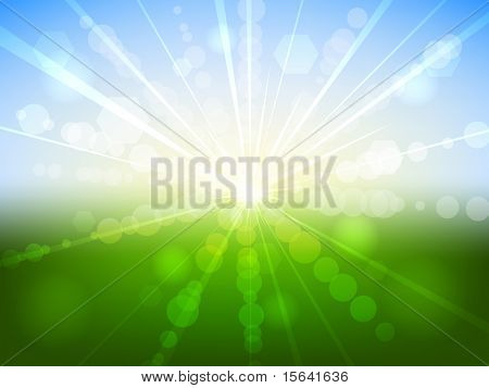 Summer sunrise bokeh effect vector background. EPS10 file. poster
