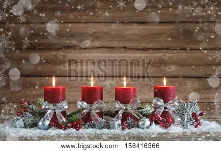Advent decoration with four burning candles. Christmas background