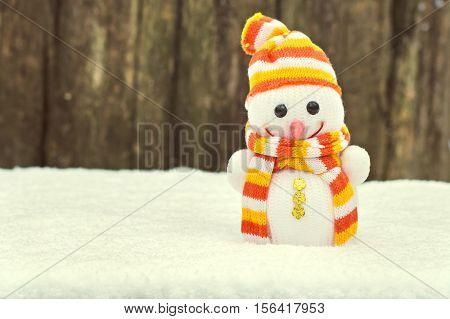 Vintage Snowman On Snow