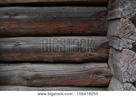 Wooden logs wall of rural house background..Construction's details of the log house.