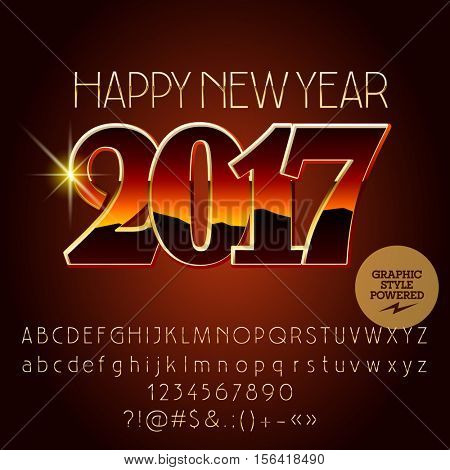 Vector original reflective Happy New Year 2017 greeting card with set of letters, symbols and numbers. File contains graphic styles