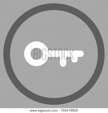 Key vector bicolor rounded icon. Image style is a flat icon symbol inside a circle, dark gray and white colors, silver background.