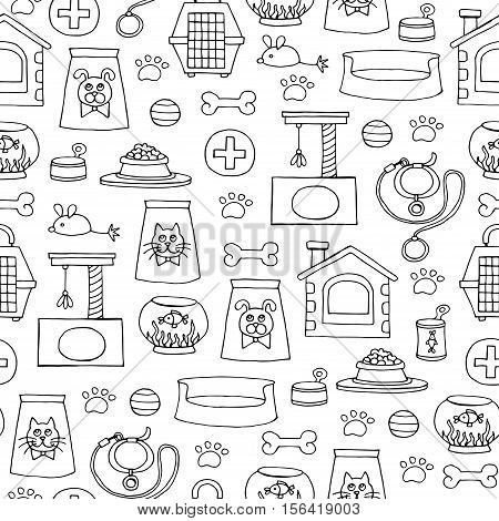 Vector seamless pattern with hand drawn isolated goods for pets on white color. Pattern on the theme of pet shop. Background for use in design, packing, web site, fabric