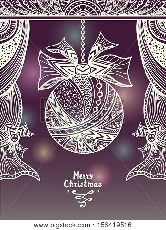 Christmas Ball with bow  and curtains  in Zen-tangle or Zen-doodle style in lilac beige or creative Christmas or New Year Post Card or for decoration  package or for congratulation winter holiday