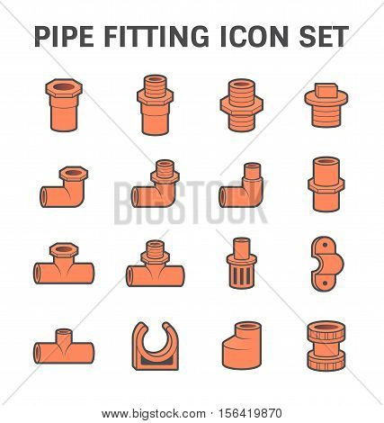 Vector icon of pipe fitting or pipe connector for plumbing and piping work.