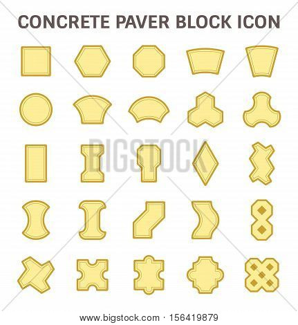 Concrete paver block or paver brick vector icon sets.