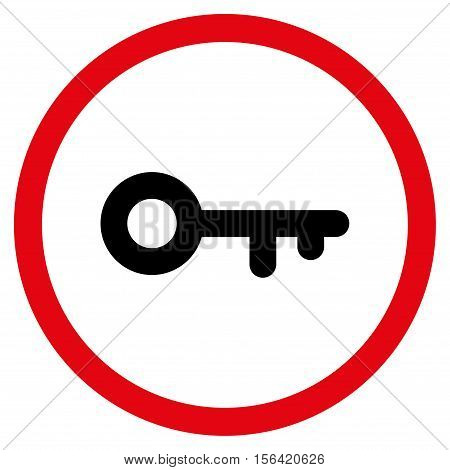 Key vector bicolor rounded icon. Image style is a flat icon symbol inside a circle, intensive red and black colors, white background.