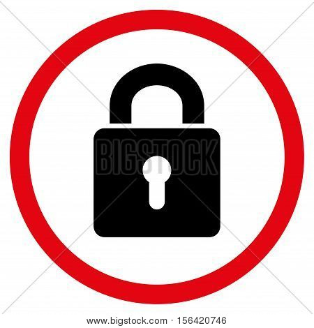 Lock Keyhole vector bicolor rounded icon. Image style is a flat icon symbol inside a circle, intensive red and black colors, white background.