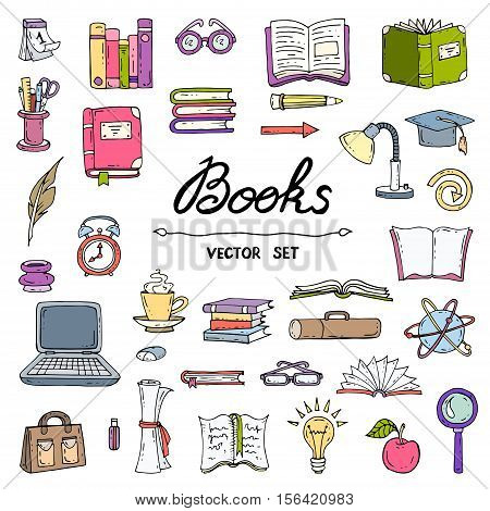 Vector set with hand drawn isolated and colored doodles of books. Flat illustrations on the theme of education and knowledge. Sketches for use in design, web site, packing, textile, fabric