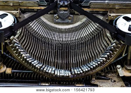 Vintage typewriter machine closeup shot., old typewriter
