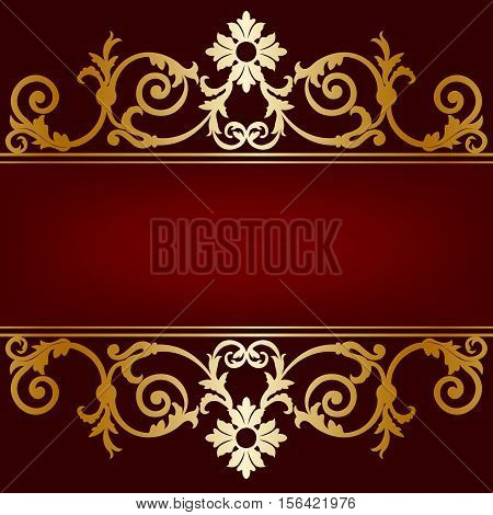 Invitation card gold ornament on a maroon background