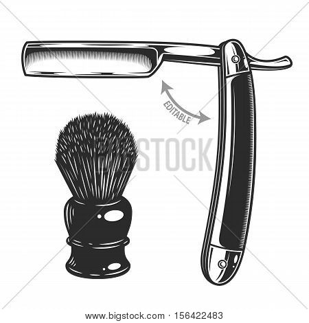 Monochrome illustration of straight razor and shaving brush. Isolated on white background