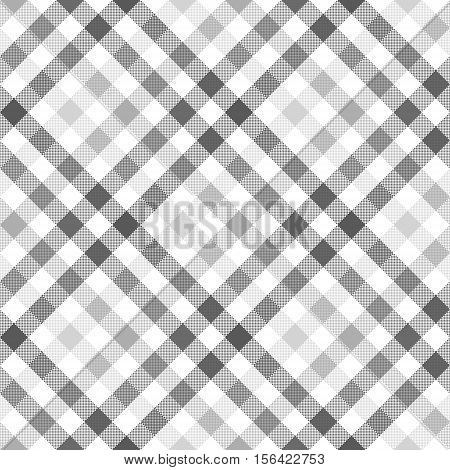 Gray diagonal check shirt seamless fabric texture. Vector illustration.