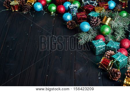 Background From Christmas Toys And Tree