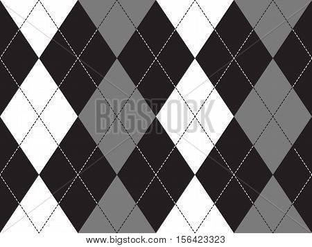Grayscale argyle seamless pattern. Flat design. Vector illustration.