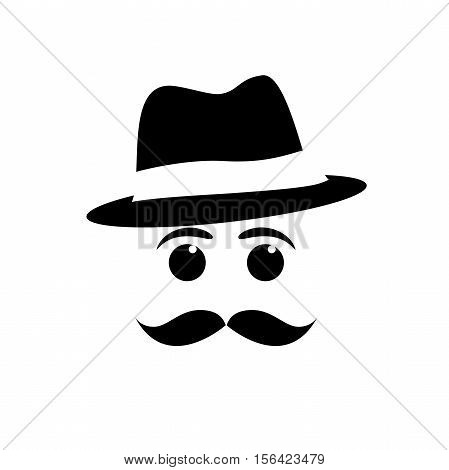 vector face mustache and hat in abstract shape