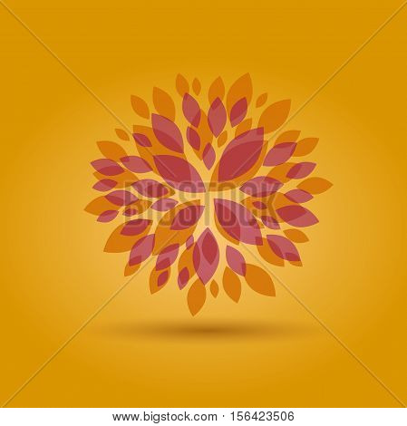 Vector Autumn Floral background in abstract shape