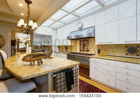 Luxurious Kitchen Room Interior With Antique Details
