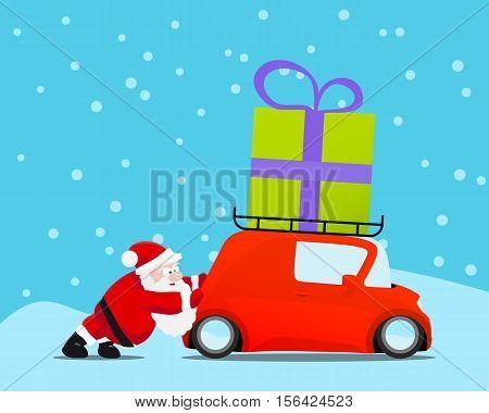 Santa pushing christmas car with gift. Vector illustration.
