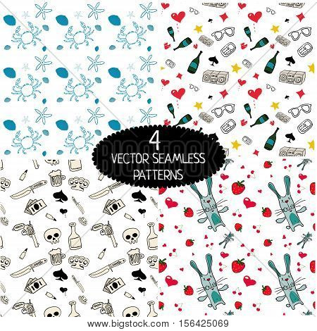 Set of vector seamless patterns. Pattern with crabs and seashells. Pattern with revolver, knife, brass knuckle, money. Rabbit, strawberry, hearts. Vine bottle, sunglases, boombox.