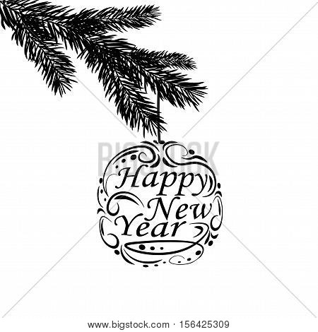 Black and white, realistic branch of fir tree. Greeting inscription Happy New Year. Fir branches. Isolated on white background. Christmas vector illustration