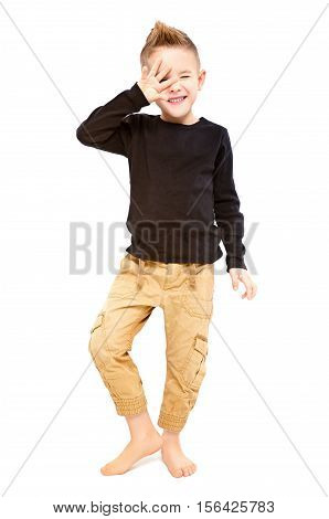 Portrait of attractive trendy cheerful boy isolated on white background