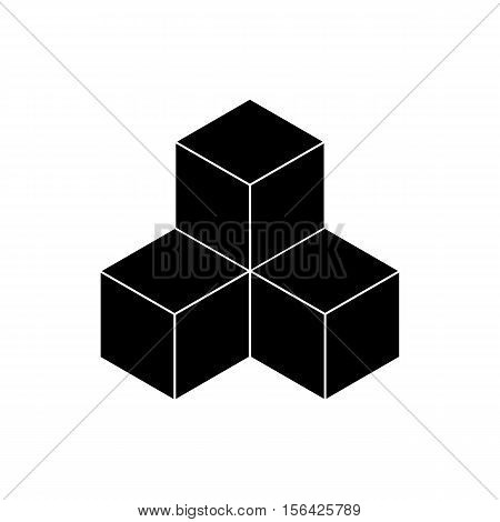 Three black cube accommodation at the center on a white background