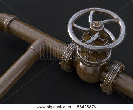 Old gas pipe with valve 3d illustration