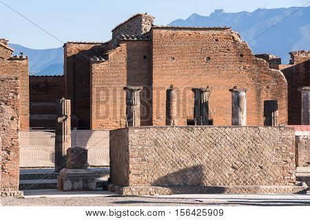 Town center of Pompeii the ancient Roman city destroyed during a catastrophic eruption of the volcano Mount Vesuvius in 79 AD