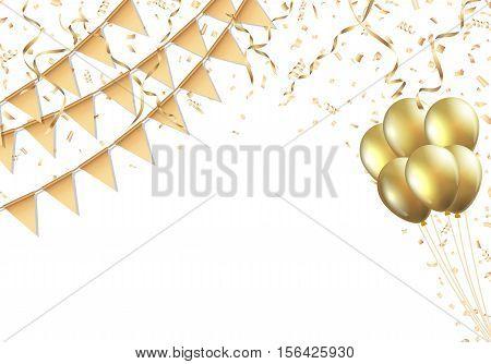 Celebration design with golden flag, balloon, confetti and streamer