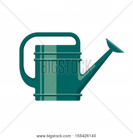 Gardening tool flat icon watering can isolated on white background. Farming equipment - vector stock