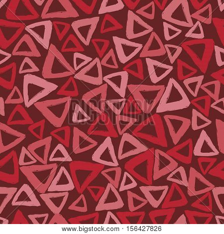 Vector seamless pattern with careless strokes in the form triangles. Abstract background made using of brush smears.