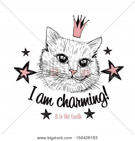 Cute cat princess illustration isolated on white background