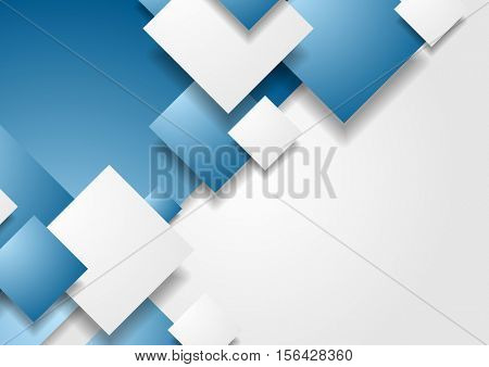 Abstract tech geometric blue and grey contrast background with squares. Vector illustration for flyers, brochures, web graphic design