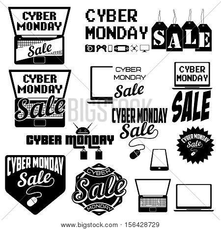 Set of cyber monday sale badges. Sale tags. Design elements for logo, label, emblem, sign. Vector illustration.