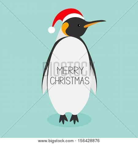 King Penguin Santa red hat. Emperor Aptenodytes Patagonicus Cute cartoon character. Flat design Winter antarctica bluebackground Merry Christmas text. Greeting card. Vector illustration
