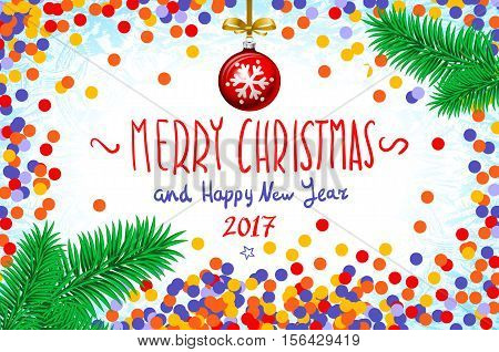 Vector Confetti On The Table, A Hand-written Inscription Merry Christmas And Happy New Year 2017, Ch