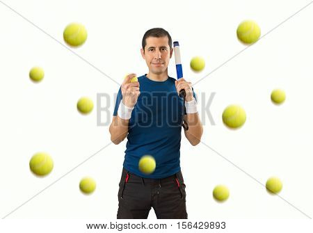 man under a llubia of ball paddle tennis with white background