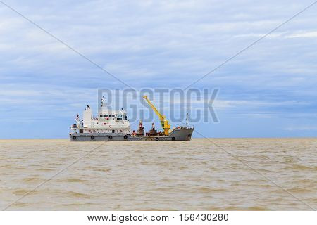 Buoy Tender Boat In Estuary Of Chao Phraya River