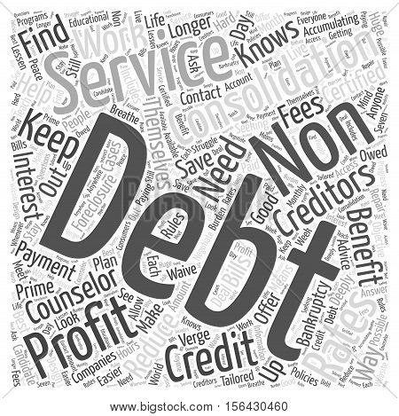 Who Will Benefit From A Non Profit Debt Consolidation text background Service word cloud concept