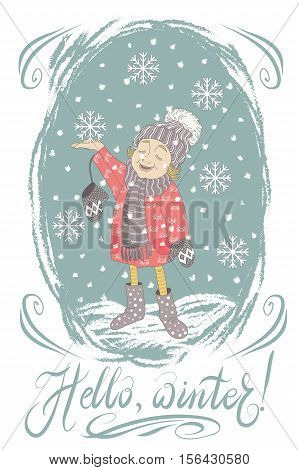 Hello winter card. Cartoon character little girl child catch the first snowflakes. Vector illustration