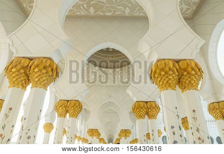 ABU DHABI, UAE - NOVEMBER 5, 2016 : Amazing interior Sheikh Zayed Grand Mosque at sunset time (Abu-Dhabi UAE). Sheikh Zayed. Abu Dhabi