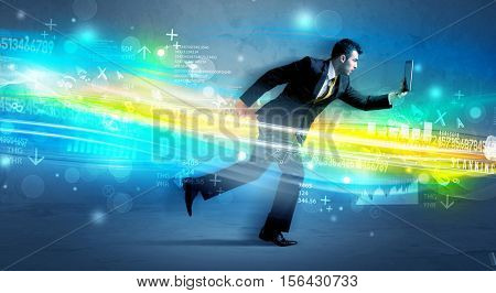 Business man running with device in high tech wave cloud concept on background