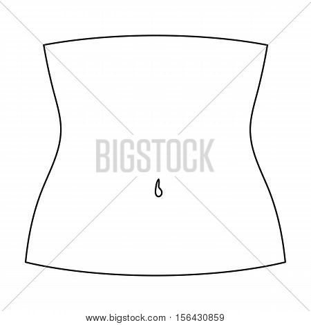 Abdomen icon in outline style isolated on white background. Part of body symbol vector illustration.