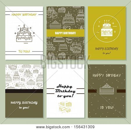 Happy birthday card template. Cake with candle vector icon line background. Sweet dessert illustration. Wedding party invitation celebration food silhouette. Bakery cafe restaurant design menu.