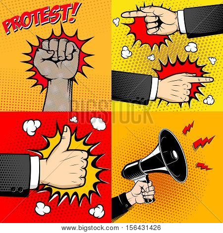 Set of Human hands in pop art style. Like sign. Hand with megaphone.  Human fist. Design elements for poster, flyer. Vector illustration.